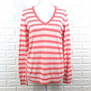 J. Crew Factory Striped V Neck Sweater Thin Knit M